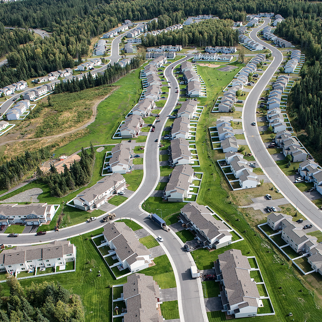 aerial image of completed military family housing at Joint Base Elemendorf-Richardson, Alaska