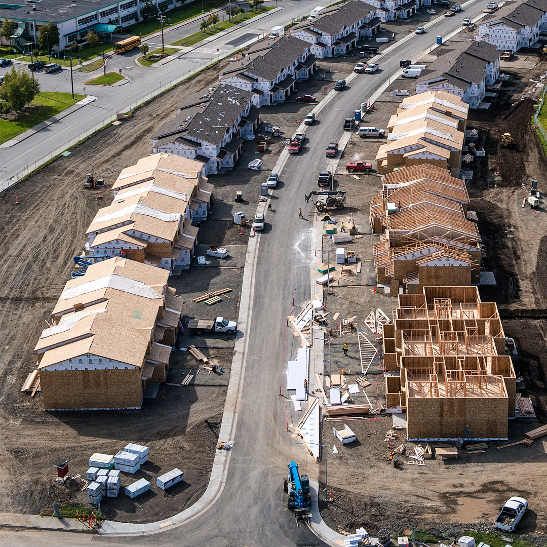aerial image of construction on military family housing at Joint Base Elemendorf-Richardson, Alaska