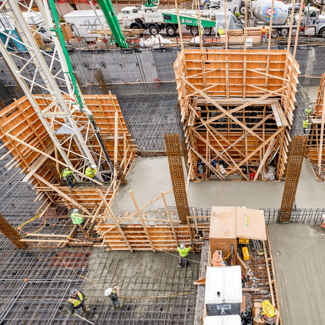 Photo of construction workers at Bellevue 10 project site in Bellevue, WA